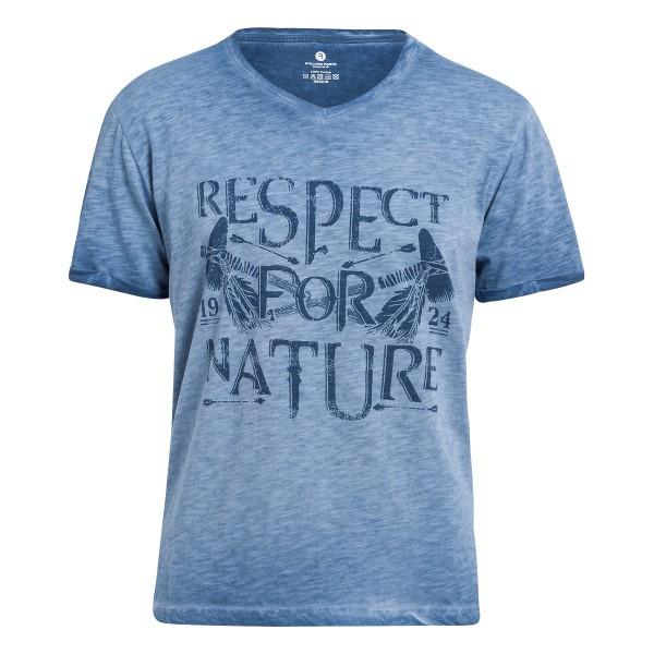 Herren T-Shirt mit V-Ausschnitt und Front Druck